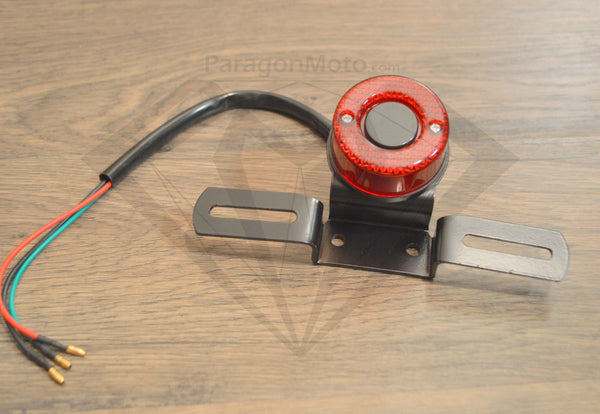 Motorcycle Tail Brake Stop Lights & License Plate Holder for Cafe Racer, Bobber, etc. - Paragon Moto  - 1