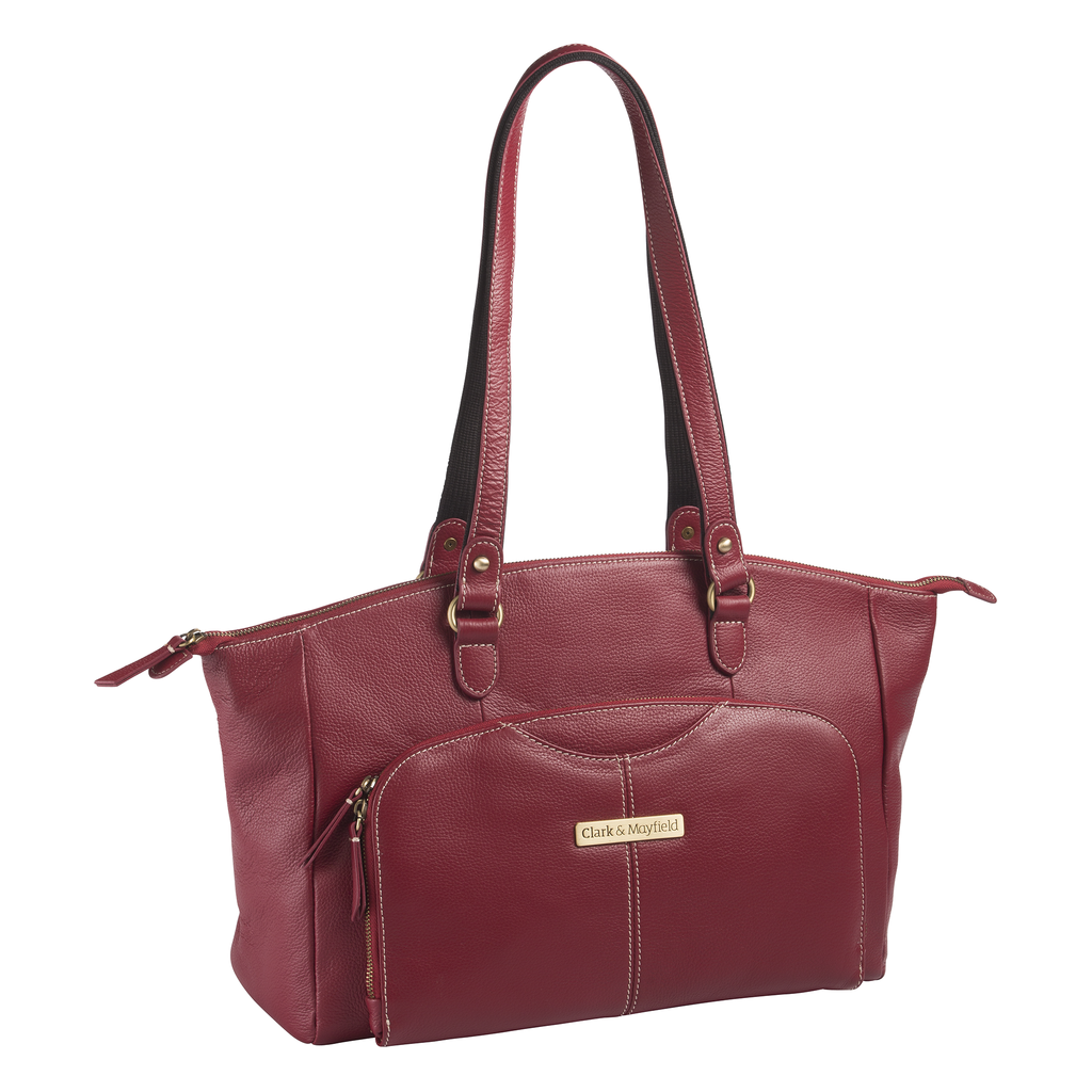 "15.6"" Alder Leather Handbag - Red"