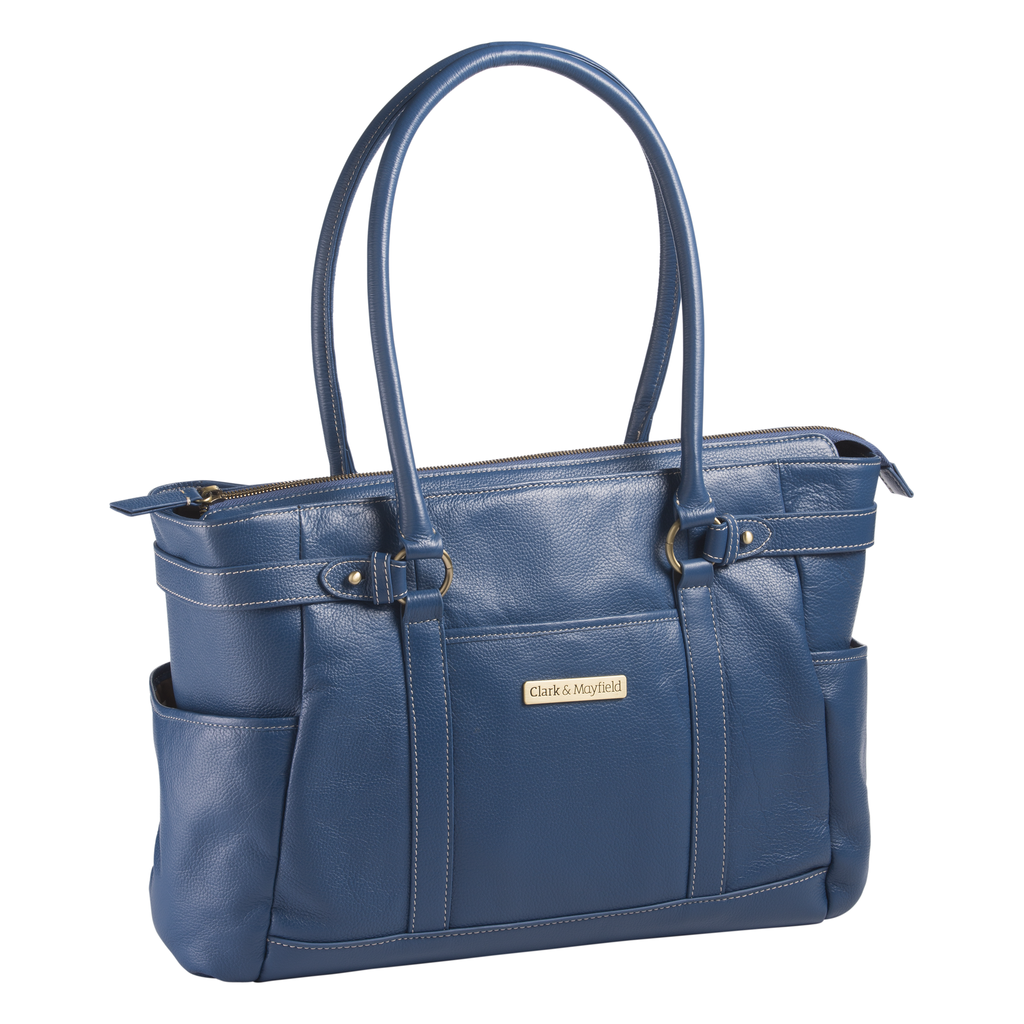 "17.3"" Hawthorne Leather Handbag - Blue"