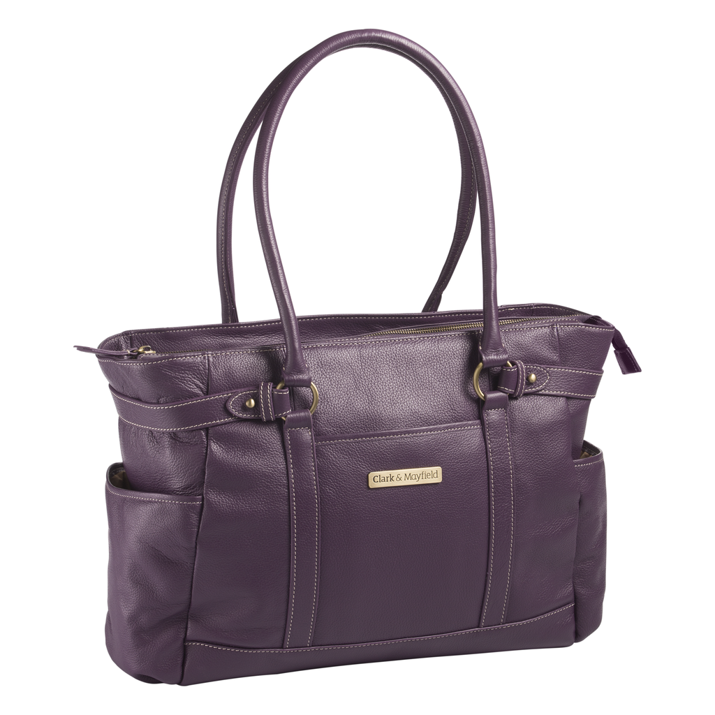 "17.3"" Hawthorne Leather Handbag - Purple"