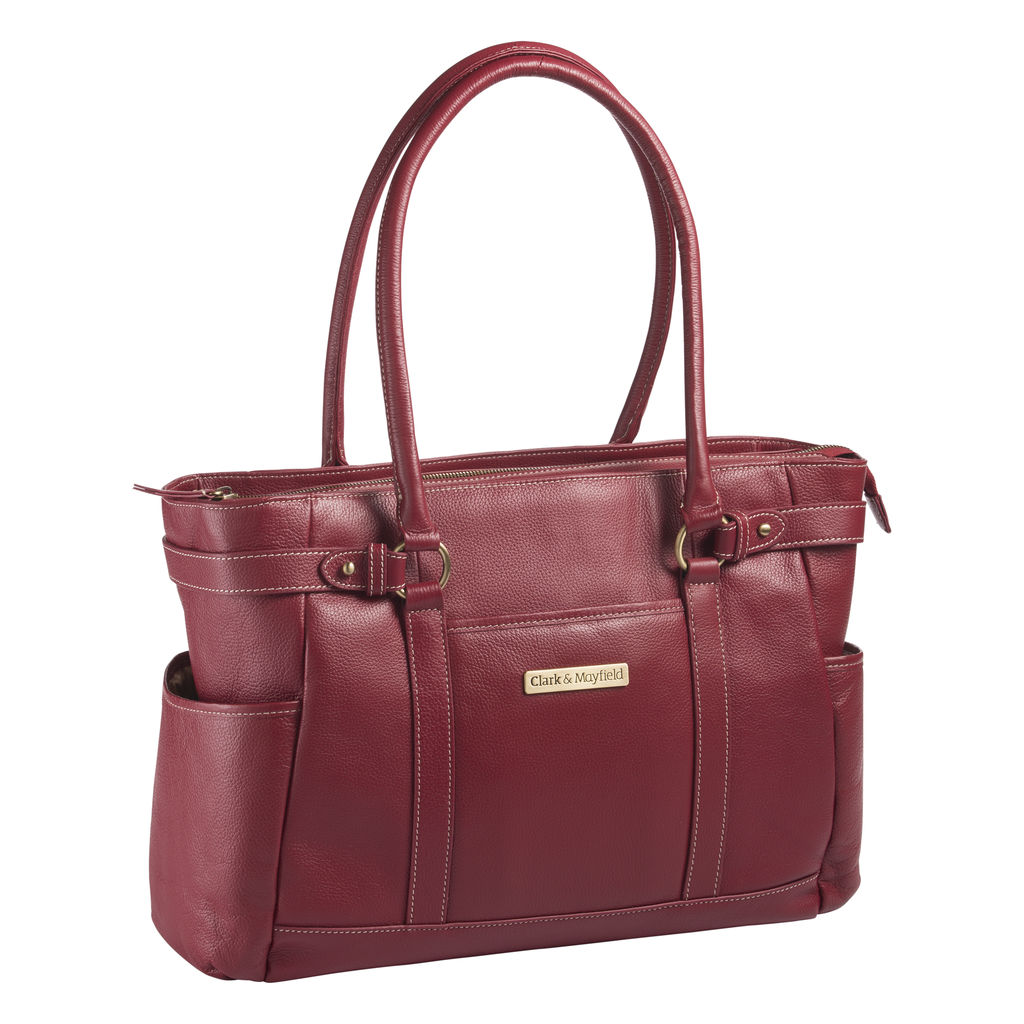 "17.3"" Hawthorne Leather Handbag - Red"