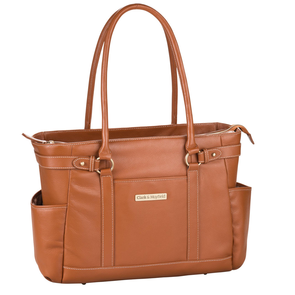 "17.3"" Hawthorne Leather Handbag - Camel"