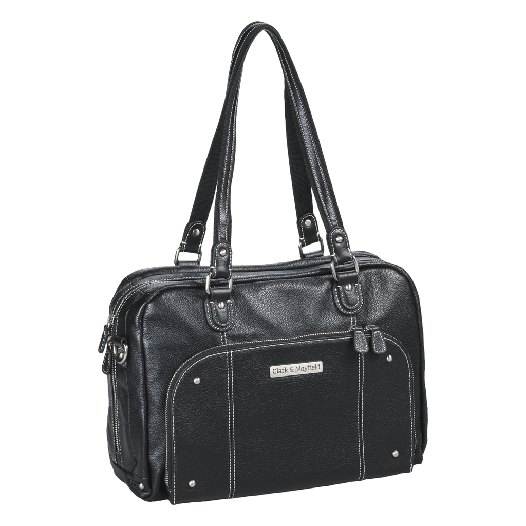 "14.4"" Morrison Leather Handbag: Black"