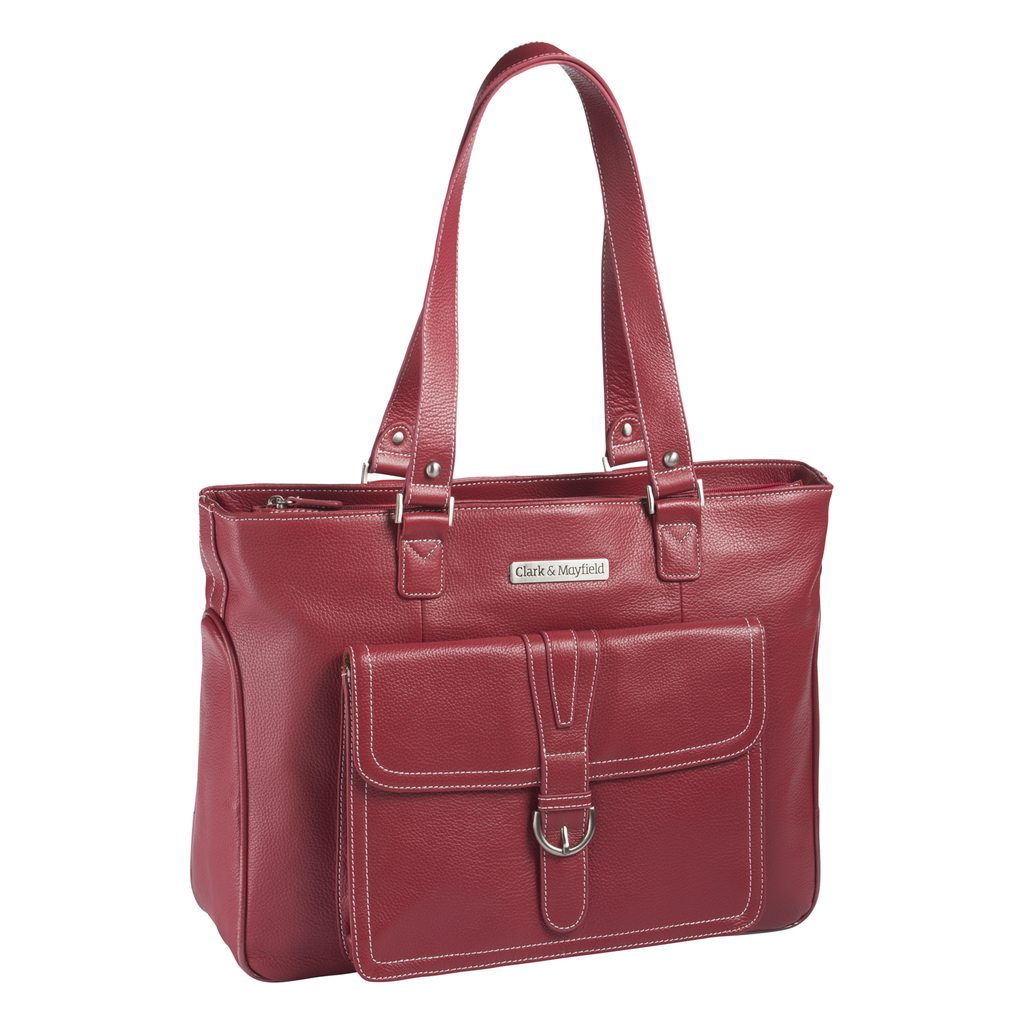 "15.6"" Stafford Leather Pro Handbag - Red"