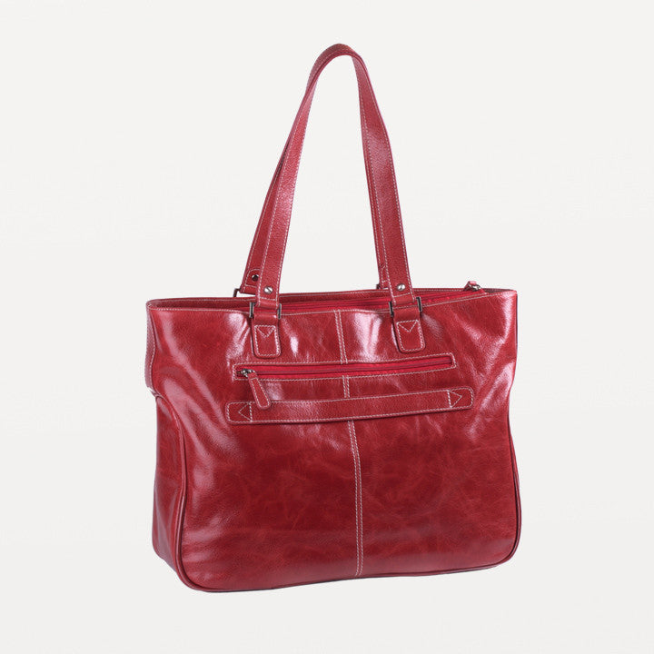 "17.3"" Stafford Vintage Leather Handbag - Red"