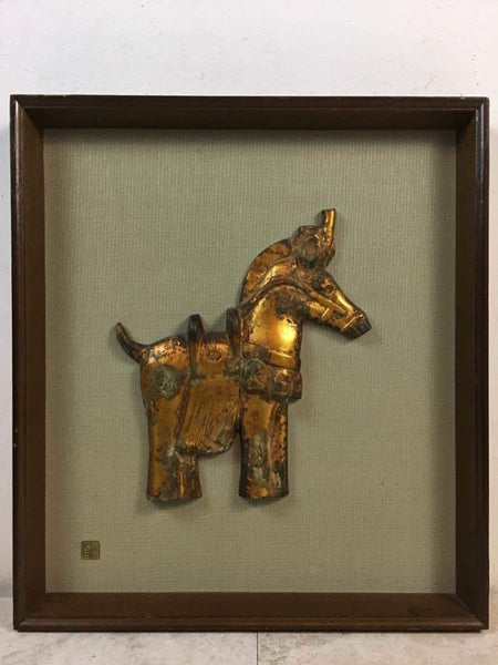 Contemporary Japanese Brass Horse, framed, with a character plaque lower left