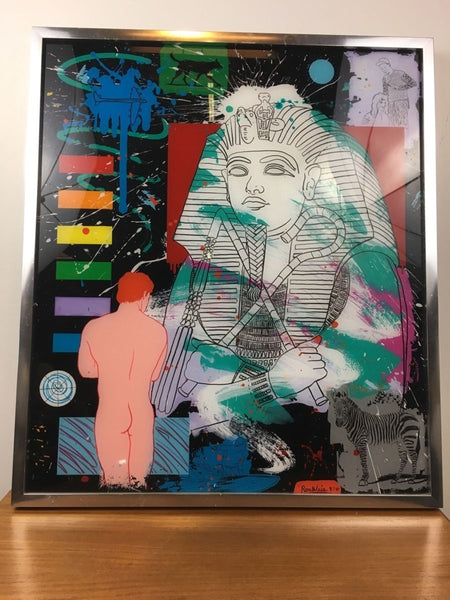Ron Weis (20th Century, American) Contemporary Mixed Media Collage, signed lower right and dated 1987 by the artist, framed
