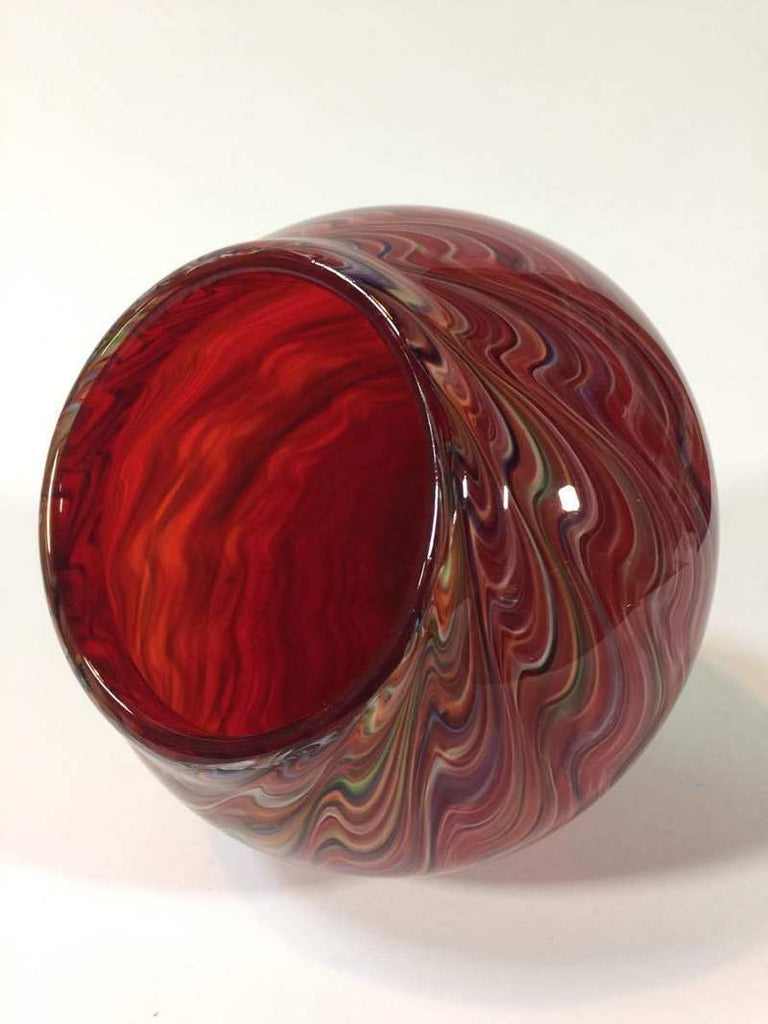 Multi-color  Swirls Red Glass Vase