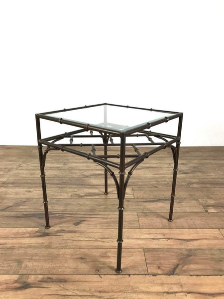 Contemporary Metal Form Bamboo and Glass Top Side Table
