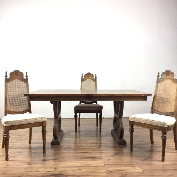 Vintage Carved Wood Dining Set
