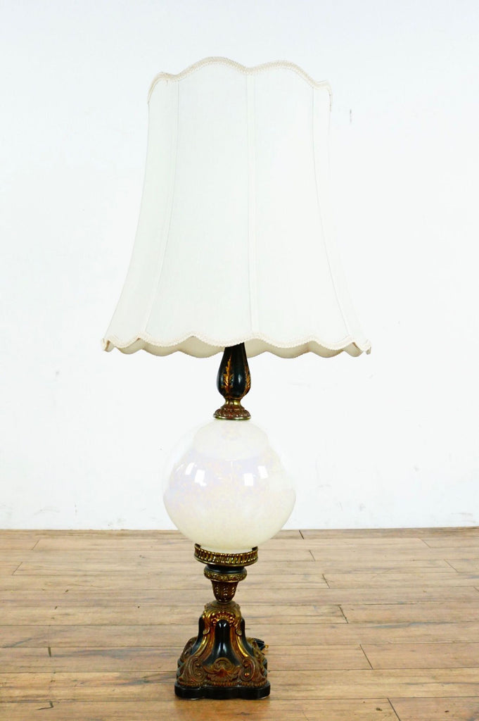 Vintage Table Lamp With White Shade