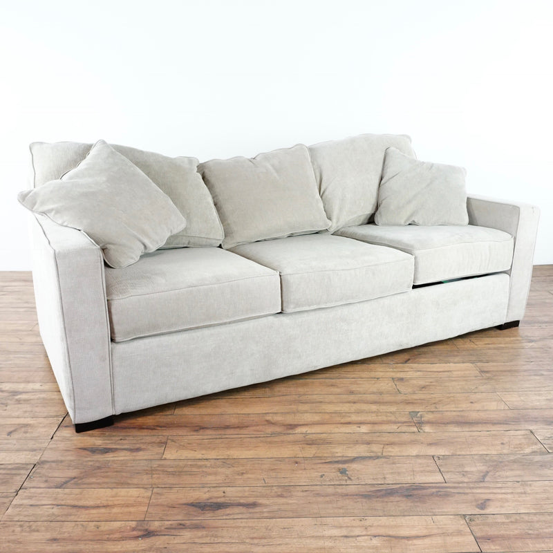 ... Jonathan Louis Contemporary Gray Upholstered Suede Sofa ...