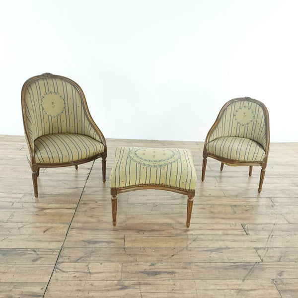 18th Century French Provincial Barrel Back Chairs & Ottoman