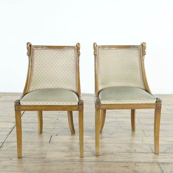 Pair of Antique French Upholstered Dining Chairs