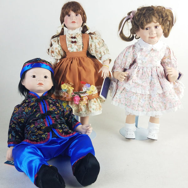 Lot of 3 Collectible Porcelain Dolls
