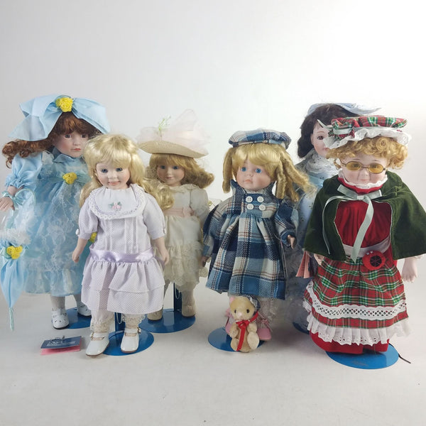 Lot of 6  Vintage Porcelain Dolls