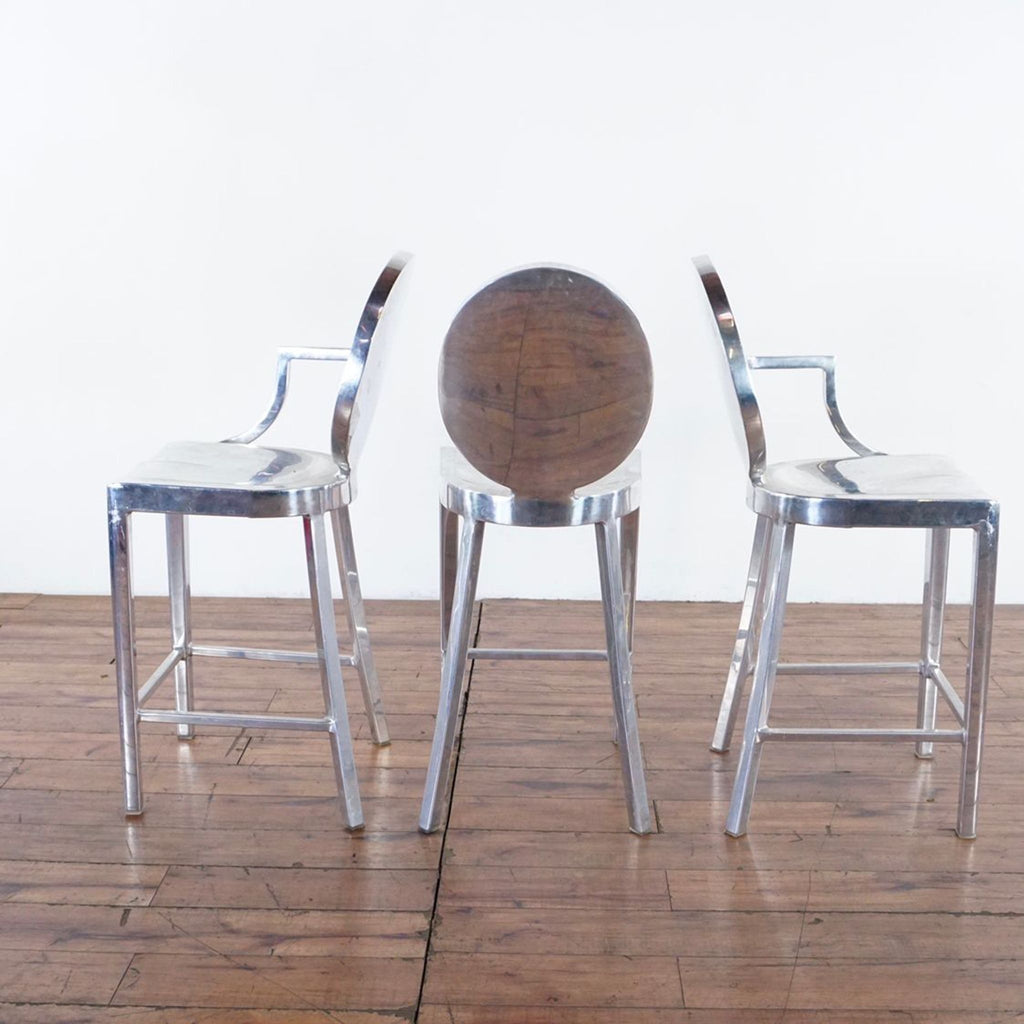Three Emeco Kong by Philippe Starck Chrome Finish Bar Stools
