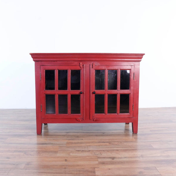 Crate and Barrel Red Rustic Cabinet