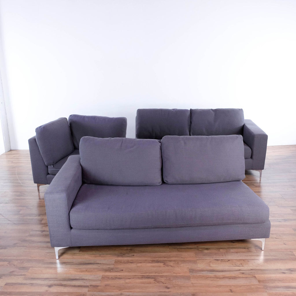 Ruskin Sectional Sofa in Charcoal Gray
