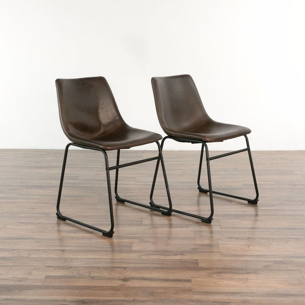 Pair of Brown Faux Leather Dining Chairs