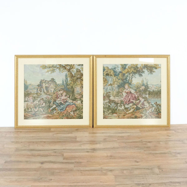 Set Of Two Framed Tapestries