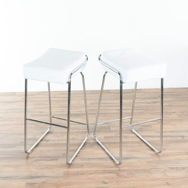 Zuo Modern White and Chrome Bar Stools