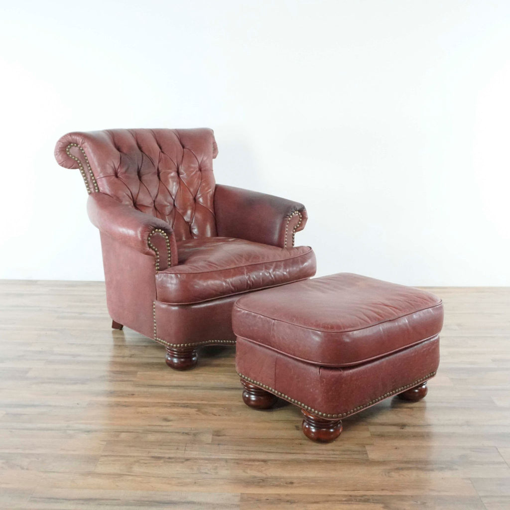 Red Leather Armchair and Ottoman