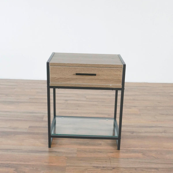 Wood Tone and Metal End Table