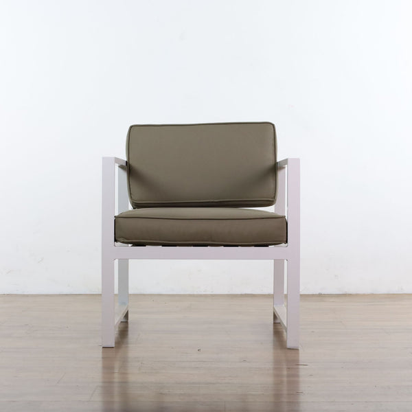 Zuo Modern Golden Beach Armchair in White and Taupe
