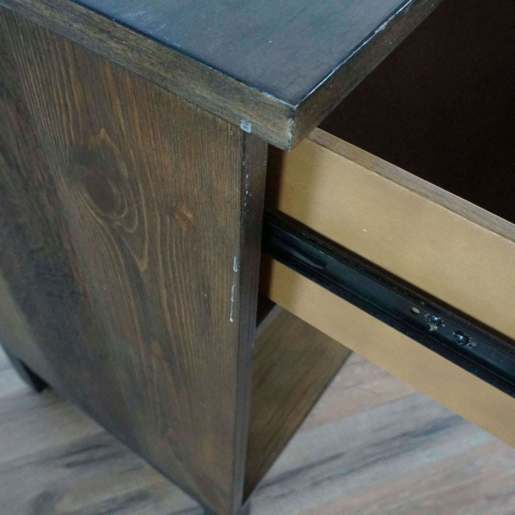 Wood Tray Top End Table with Marble Base
