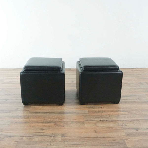 Set Of Tow Ottomans with Storage