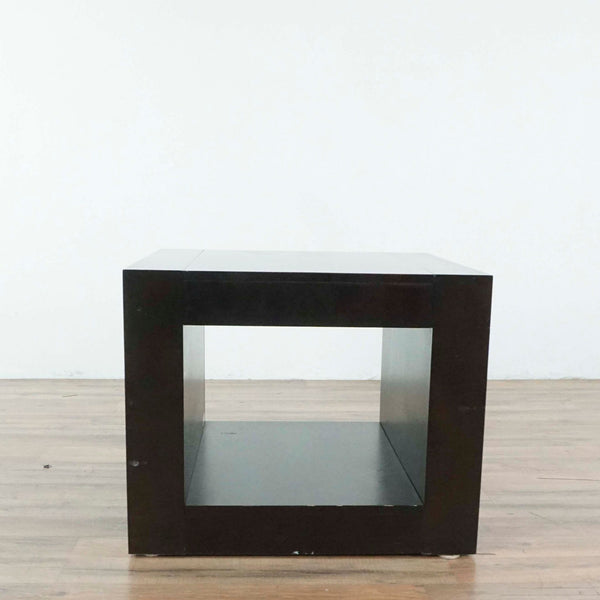 Dark Wood Open Cube End Table