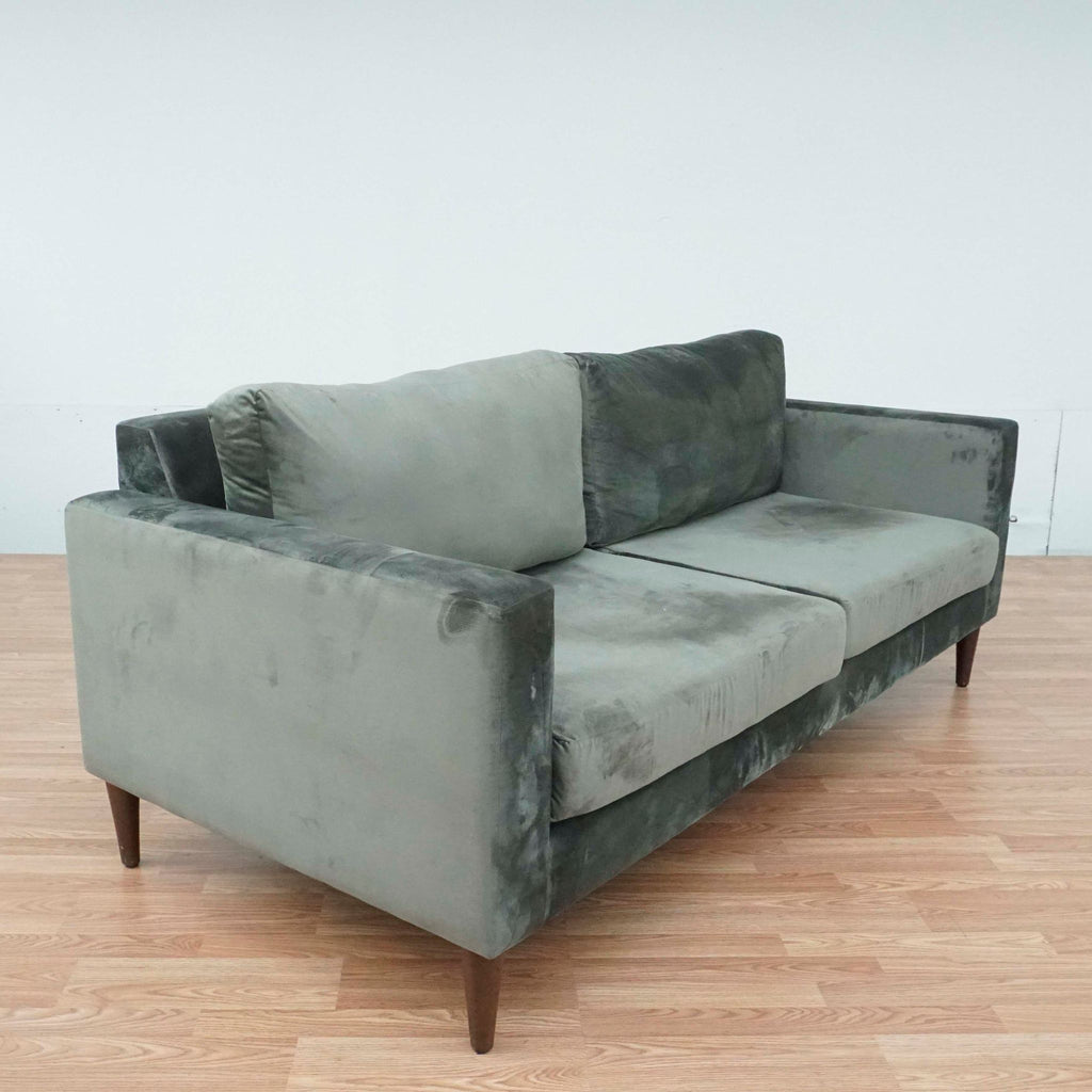 Contemporary Gray Upholstered Three Cushion Sofa