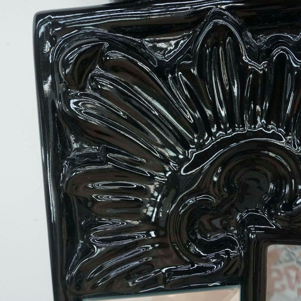 Hollywood Regency Mirror with Black Lacquer Accents