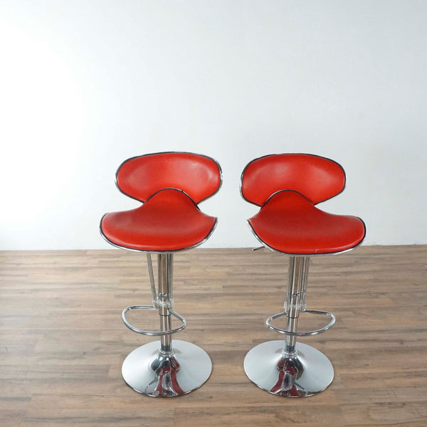 Set Of Two Red and Chrome Bar Stools