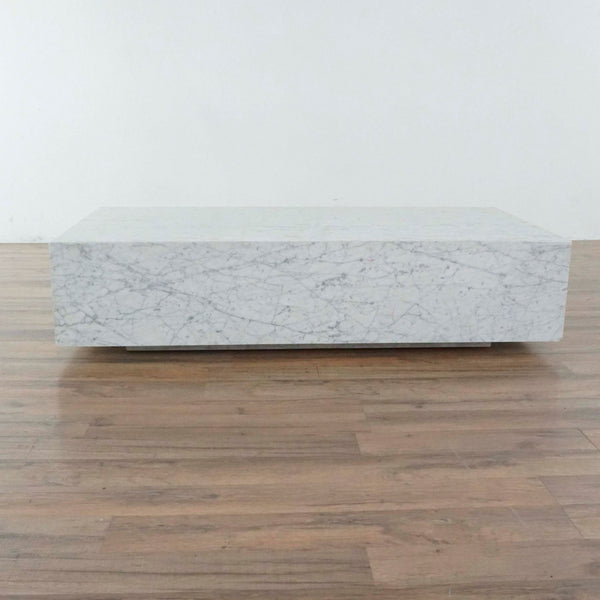 Restoration Hardware Low Marble Plinth Coffee Table