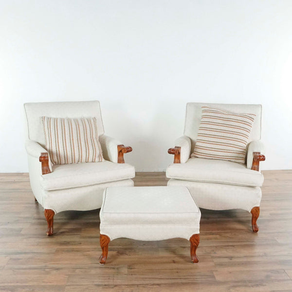 Pair of Vintage White Upholstered Armchairs and Ottoman