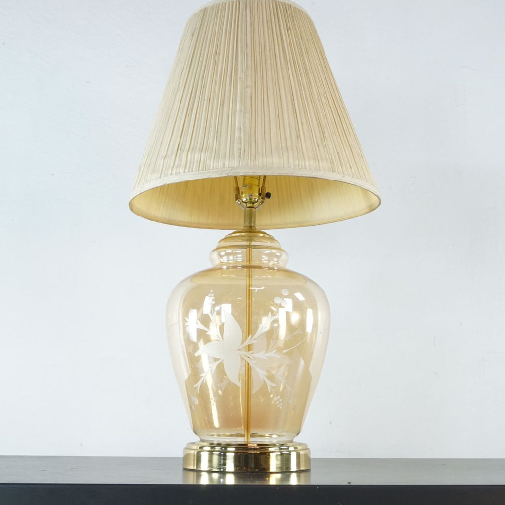 Etched Glass Table Lamp with Shade
