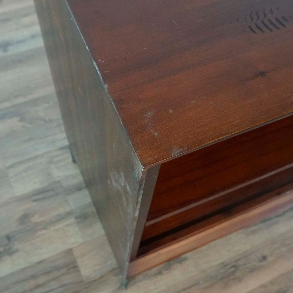 Curved Glass Coffee Table with Drawer