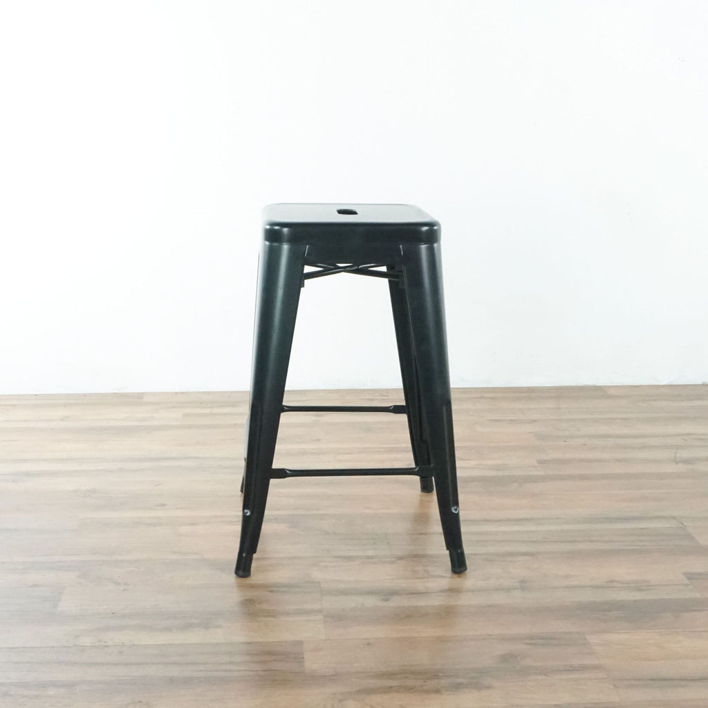 Set Of Two Black Metal Counter Stools