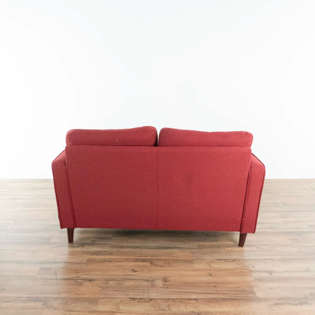 Makai Mid-Century Loveseat in Ruby Red