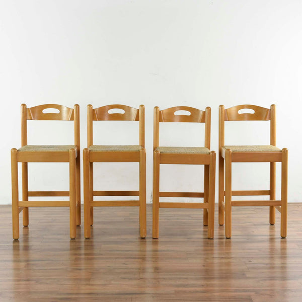 Set Of Four Wooden Bar Stools