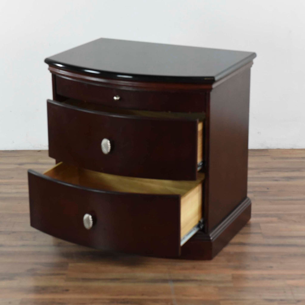 Marble Top Nightstand with Pull Out Tray