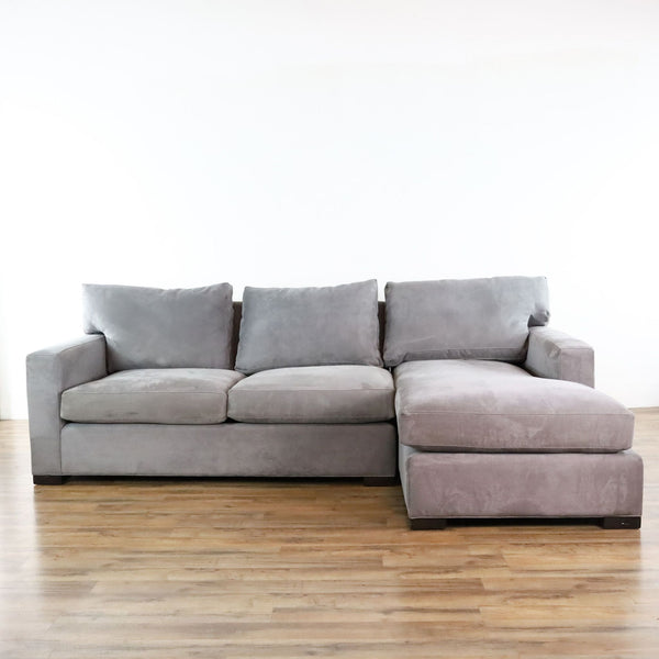 Crate & Barrel Gray Upholstered Sectional Sofa