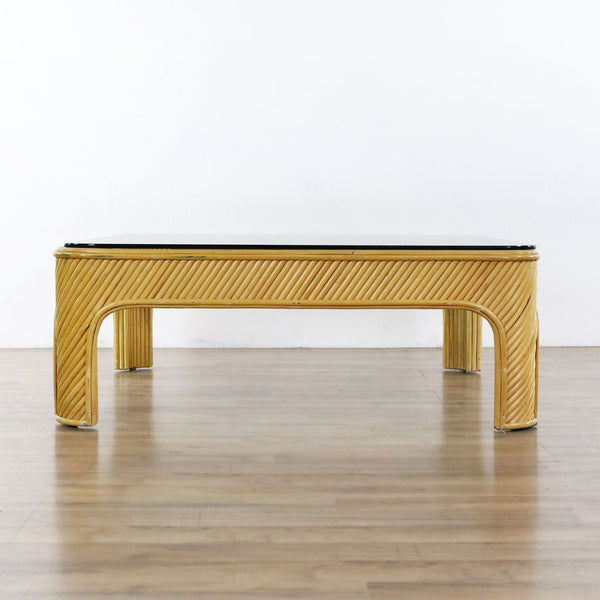 Vintage Mid Century Modern Split Bamboo Rattan Coffee Table
