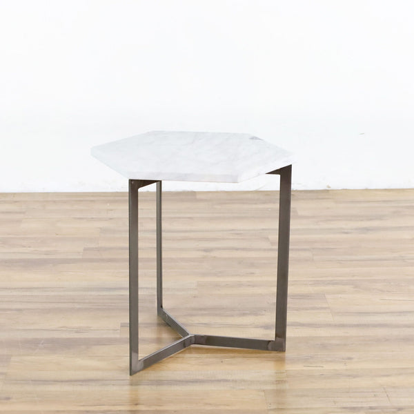 West Elm Hex Side Table, White Marble/Raw Steel