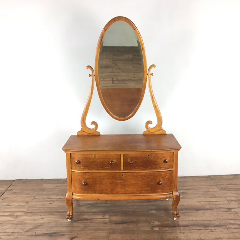 Antique Carved Maple Three Drawer Dresser With Mirror