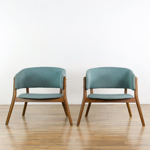 Pair of Zuo Modern Chapel Lounge Chairs in Blue