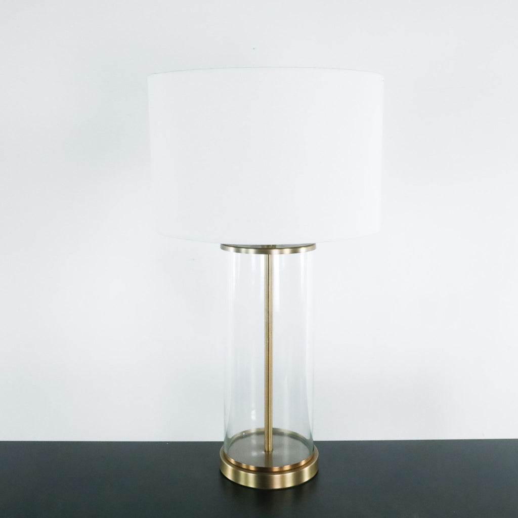 Glass Table Lamp with White Shade
