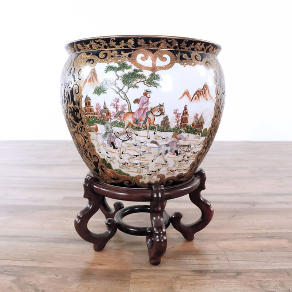 Decorated Chinese Golden Famille Fish Bowl with Stand